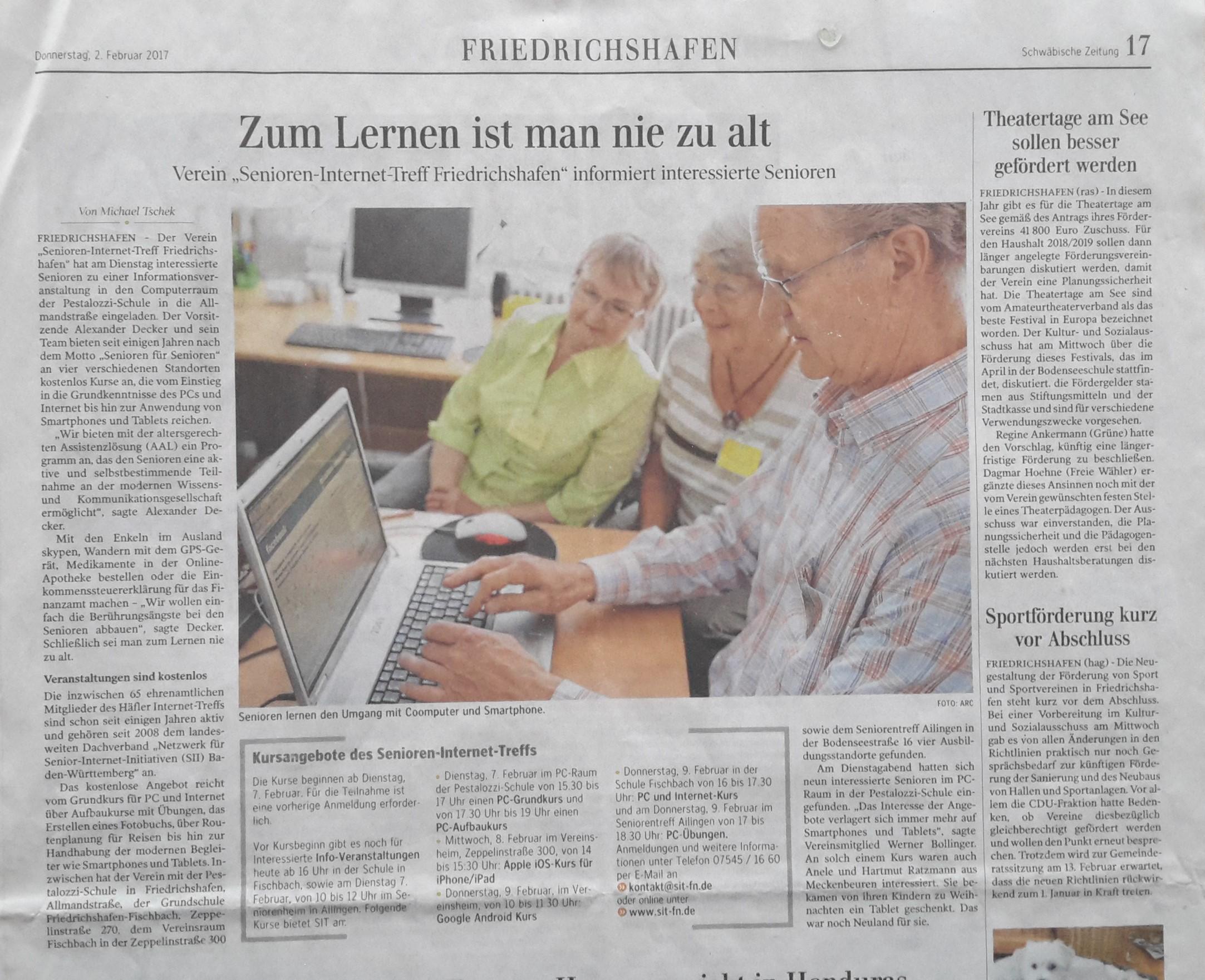 Senioren Internet Treff Friedrichshafen Pressetv